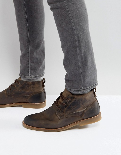 River Island leather desert boots in light brown   AS