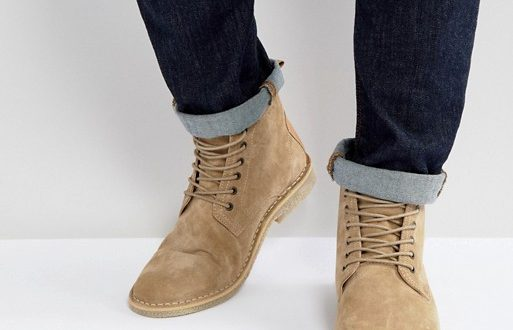 ASOS DESIGN desert chukka boots in stone suede with leather detail .