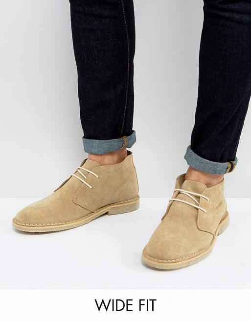 ASOS DESIGN   ASOS DESIGN Wide Fit desert boots in stone sue