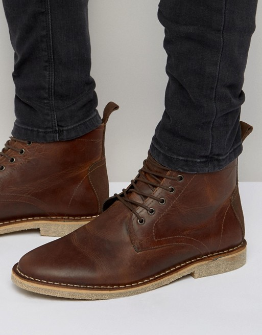 ASOS DESIGN desert boots in tan leather with suede detail   AS