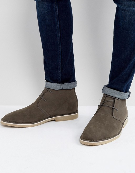 ASOS Desert Boots In Gray Faux Suede   AS