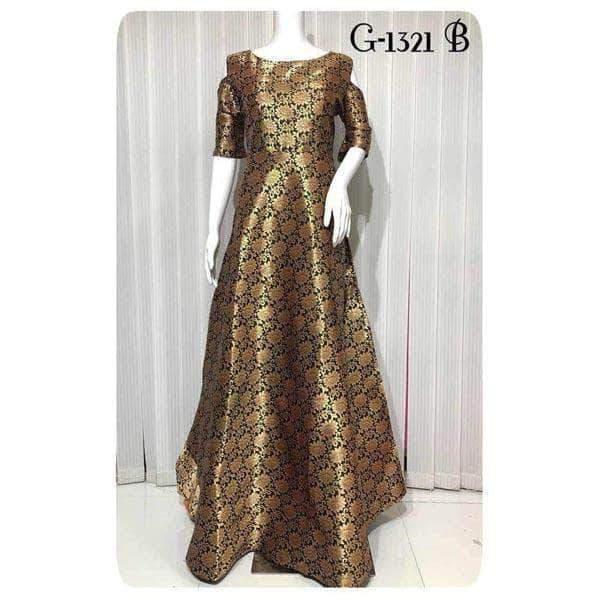 Designer Party Wear Banarasi Gown – FashionVib