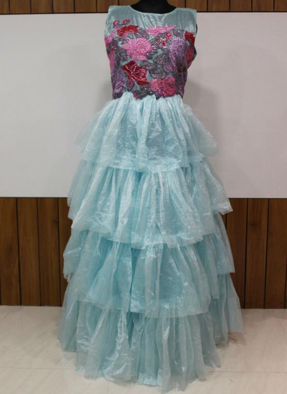 Luxurious Sky Blue Net Designer Wedding Wear Gown - Saree   Salwar .