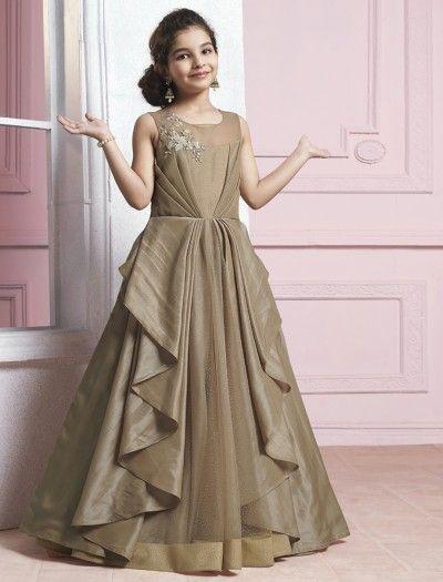 Designer brown color gown   Kids designer dresses, Kids fashion .