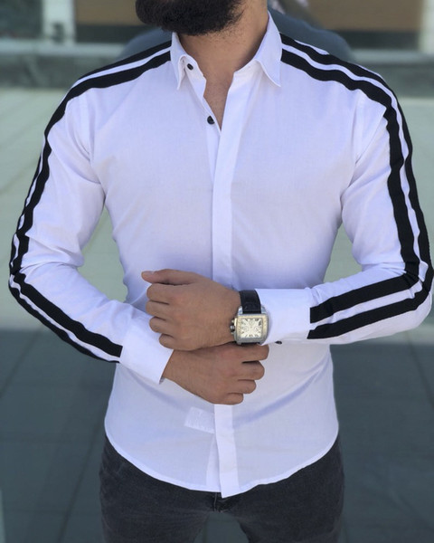 Designer Shirts Men Clothes Casual Slim Cool Spring Fall Fashion .