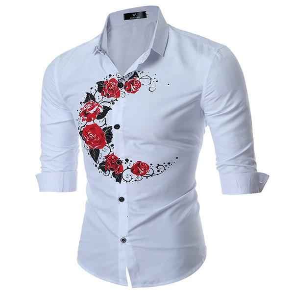 Band Collar Designer Shirts for Men British Style Rose Printing .
