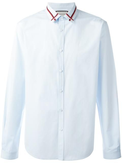 Gucci embroidered collar poplin shirt | Gucci shirts men, Shir