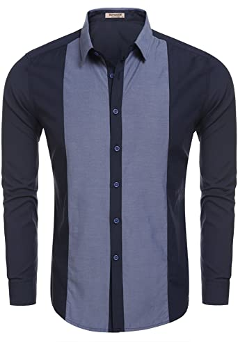Hotouch Men's Fashion Designer Shirts Blue S at Amazon Men's .
