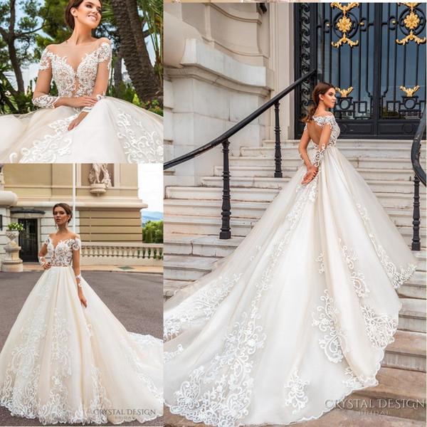 2018 Stunning Designer Wedding Dresses With Sheer Long Sleeves .