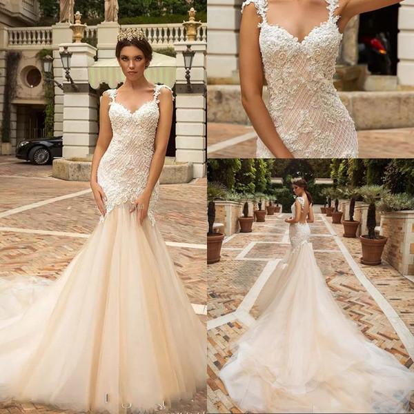 Designer Mermaid Lace Wedding Dresses 2018 Crystal Design Bridal .