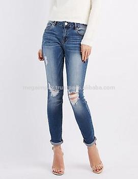 Distressed Denim Pant - Ladies/womens Super Skinny Destoyed Ripped .