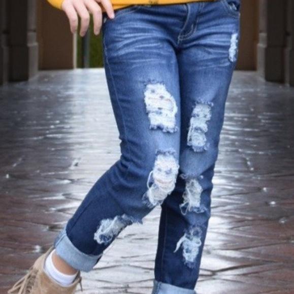 Bottoms | Little Girls Distressed Jeans | Poshma