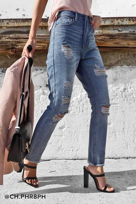 Cool Light Wash Jeans - Distressed Jeans - High-Waisted Jeans - $49.