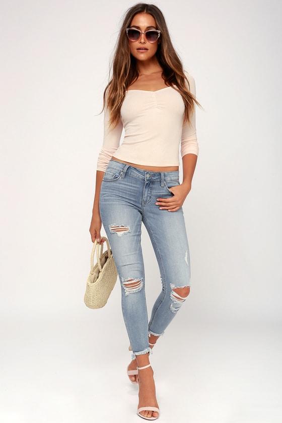 Cool Skinny Jeans - Distressed Jeans - Light Wash Jea