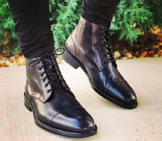 Handmade Mens Cap Toe Leather Dress Boots, Men Black Leather Ankle .