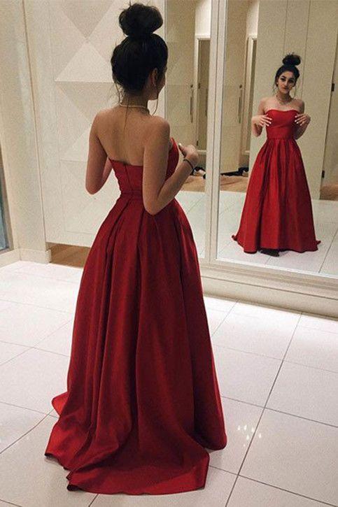 Elegant Red Satin Prom Dress, Ball Gown, Simple Prom Dress .