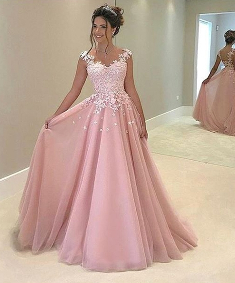 Pink Appliques Prom Dress,Long Prom Dresses,Charming Prom Dresses .