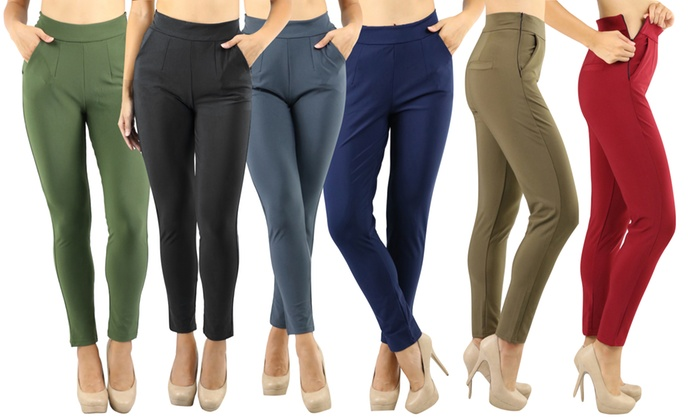 Women's High-Rise Elegant Pull-on Straight Leg Dress Pants | Group