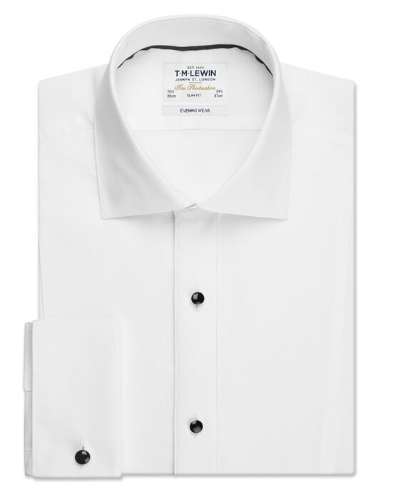 Stud Strip Slim Fit White Dress Shirt with Cufflinks | T.M.Lew