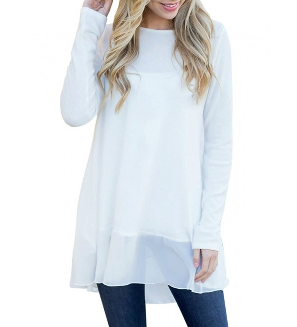 Womens Dressy Tops Long Sleeve Casual Flowy Mesh Patchwork T Shirt .