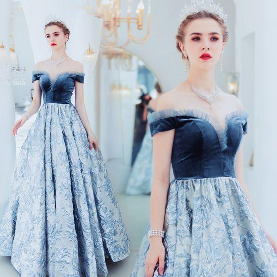Elegant Ocean Blue Evening Dresses 2019 A-Line / Princess Suede .