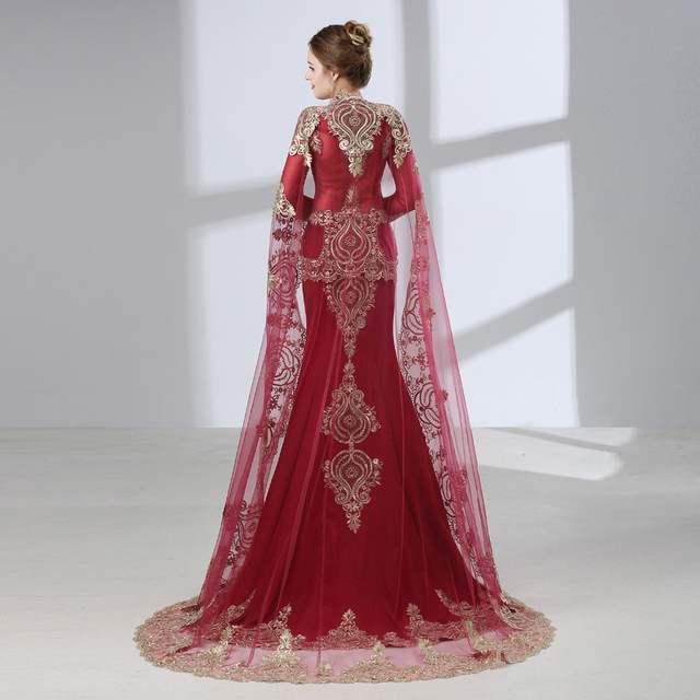 Online Shop Burgundy Arabic Mermaid Evening Dresses 2020 Robe De .