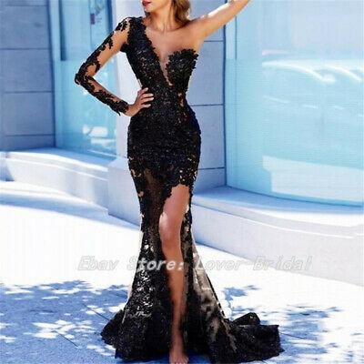 Arabian Mermaid Long Evening Dresses Black Lace One Shoulder Prom .