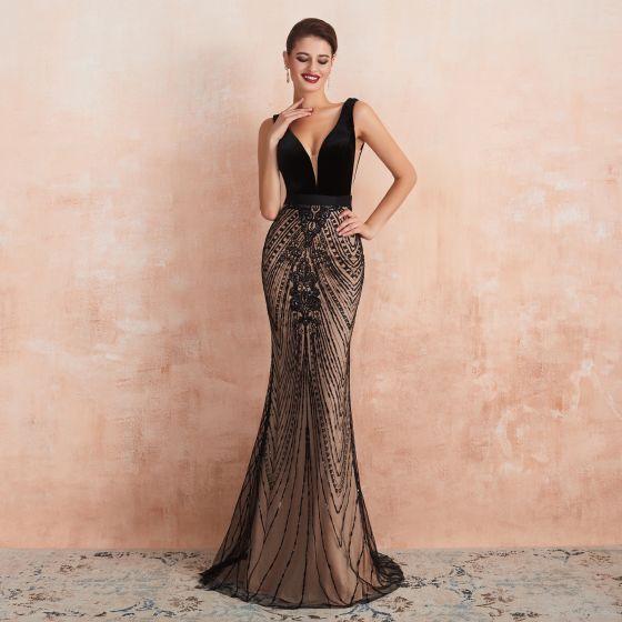Sexy Black Champagne Evening Dresses 2020 Trumpet / Mermaid .