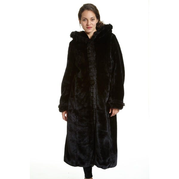 Shop Excelled Women's Faux Fur Hooded Full Length Coat - Overstock .