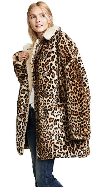 R13 Leopard Hunting Faux Fur Coat   SHOPB
