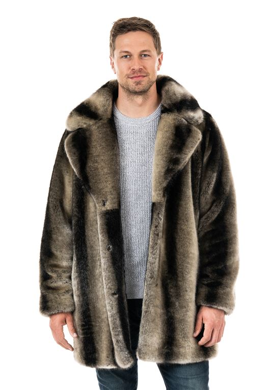 Men's Grey Chinchilla Notch-Collar Faux Fur Co