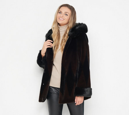 Nuage Printed Faux Fur Coat with Hood - Page 1 — QVC.c