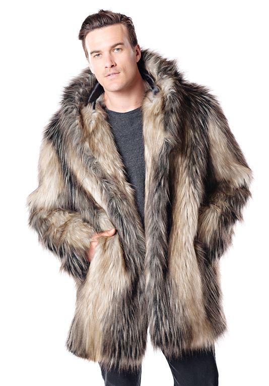 Men's Pieced Fox Hooded Faux Fur Jacket   Fabulous-Fu