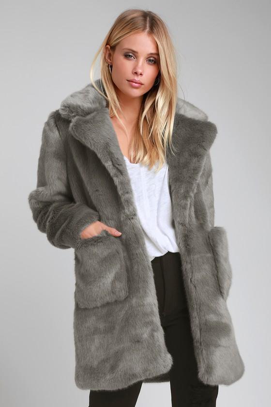 Cute Faux Fur Coat - Grey Faux Fur Coat - Plush Coat - Cozy Co