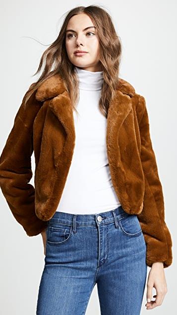 Blank Denim Cropped Faux Fur Jacket   SHOPB