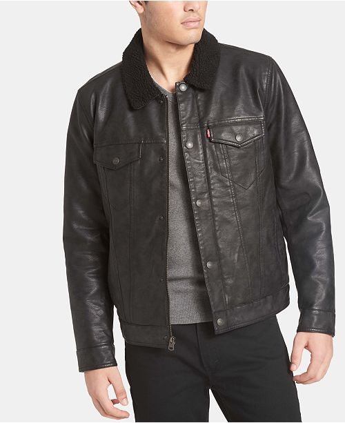 Levi's Men's Faux-Leather Trucker Jacket & Reviews - Coats .
