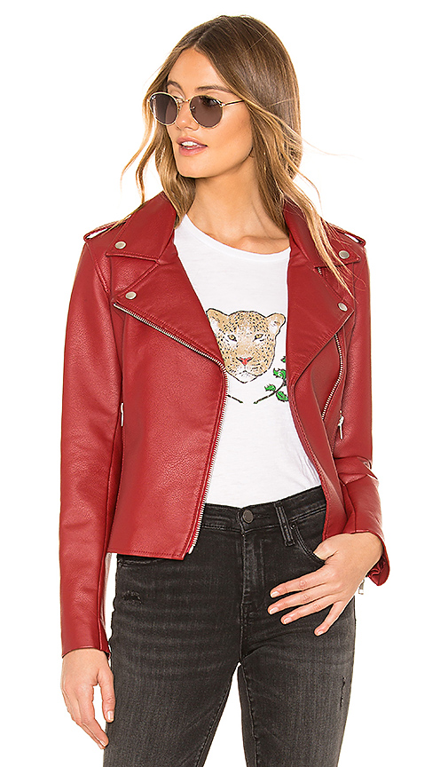 BB Dakota Just Ride Faux Leather Jacket in Brick Red | REVOL