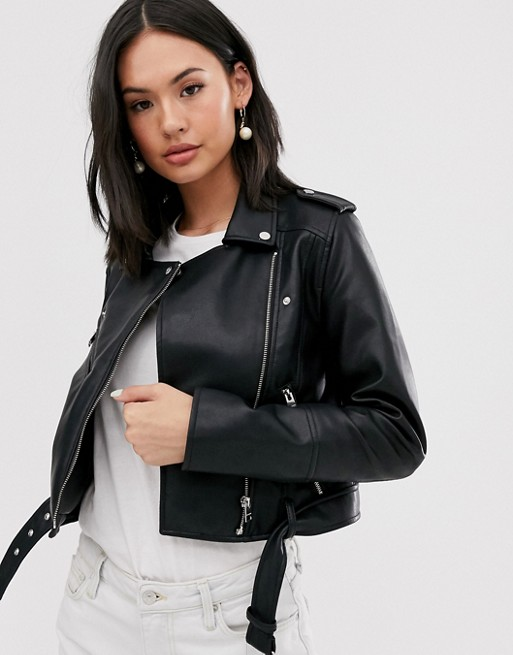 Pull&Bear faux leather biker jacket in black | AS