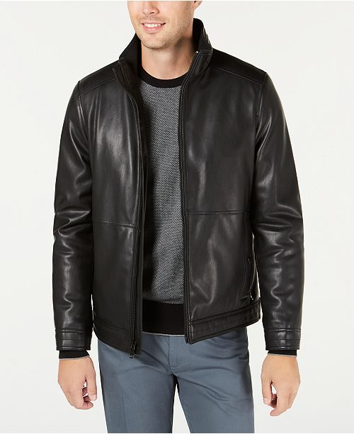Calvin Klein Men's Faux Leather Jacket, Created for Macy's .
