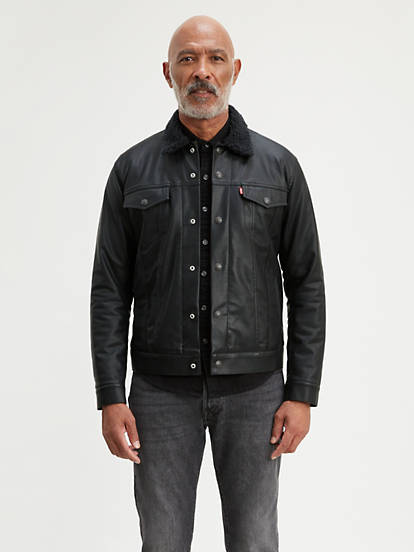 Faux Leather Sherpa Trucker Jacket - Black | Levi's®