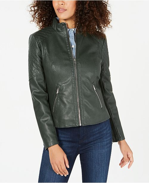 GUESS Front Zip Faux-Leather Jacket, Created for Macy's .
