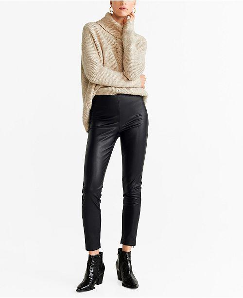 MANGO Faux Leather Pants & Reviews - Women - Macy