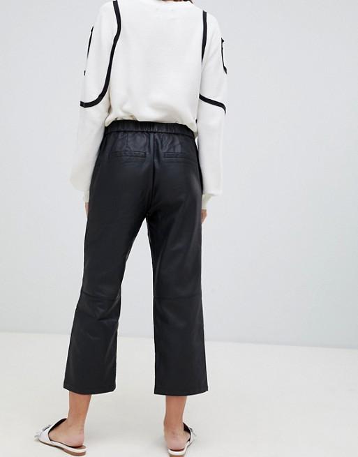 Minimum faux leather straight leg pants | AS