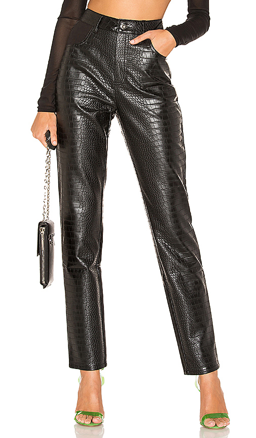 I.AM.GIA Yvette Faux Leather Pant in Black Croc | REVOL