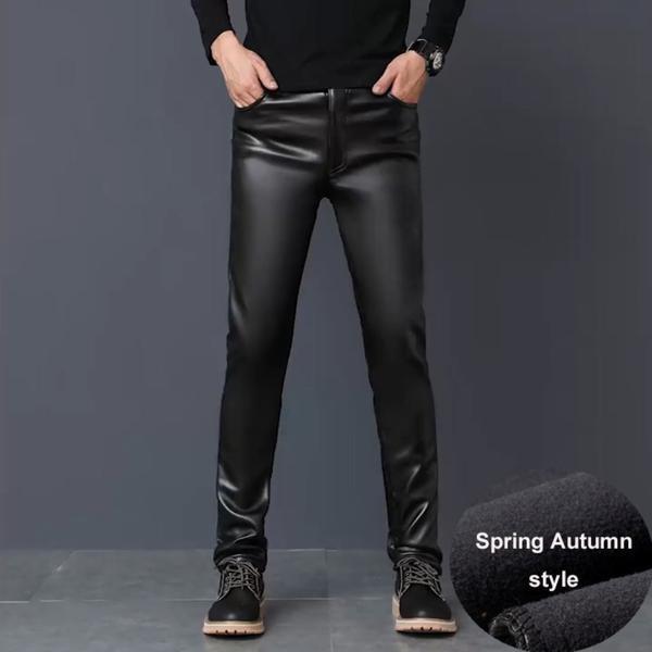 2201 Winter PU Faux Leather Pants Men Skinny Windbreak Waterproof M