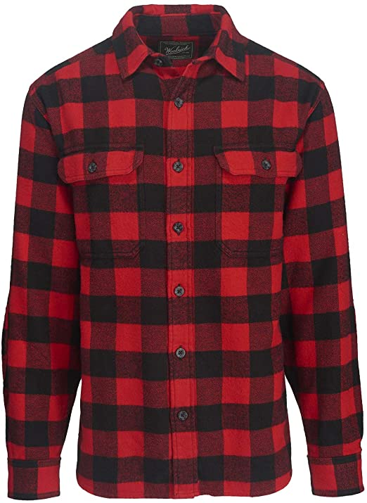 Woolrich Men's Oxbow Bend Flannel Shirt Modern Fit, Black/Red .