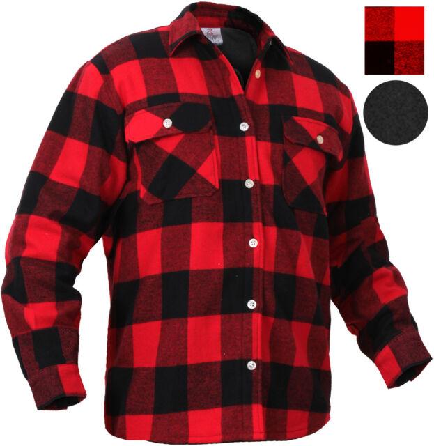 Red Plaid Flannel Shirt FLEECE Lined Extra Heavy Brawny Buffalo .