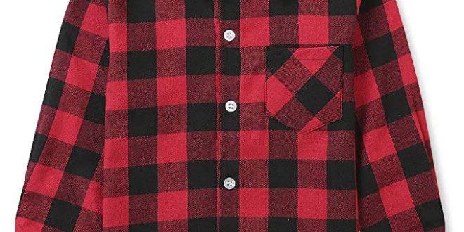 Amazon.com: OCHENTA Little Big Boys' Plaid Flannel Button Down .