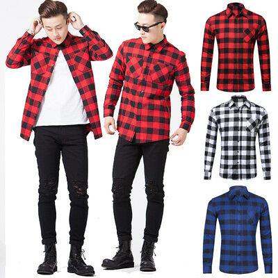Men's 100% Cotton Casual Plaid Shirts Pocket Long Sleeve Slim Fit .