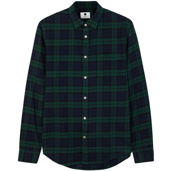 NN.07 Dexter checked flannel shirt ($105) ❤ liked on Polyvore .